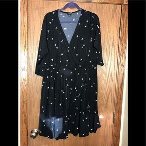 Torrid 2X faux wrap black & white dress